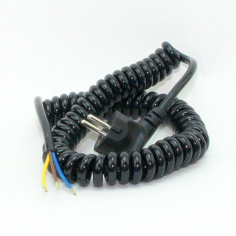 spiralkabel schutzkontakt wendelleitung schwarz 3x1 0 mm dehnbar bis 13 95. Black Bedroom Furniture Sets. Home Design Ideas