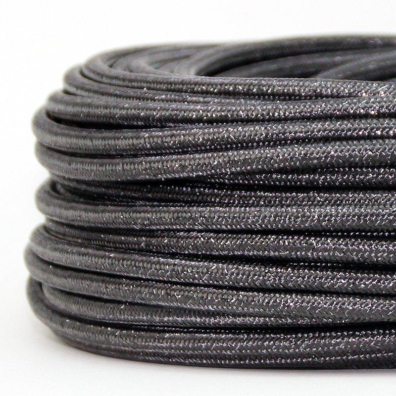 textilkabel stoffkabel grau metallic 3 adrig 3x0 75. Black Bedroom Furniture Sets. Home Design Ideas