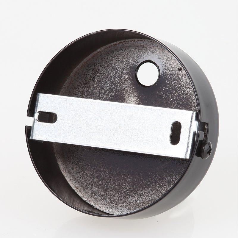 lampen metall baldachin 80x25mm schwarz f r 2 lampenpendel 19. Black Bedroom Furniture Sets. Home Design Ideas
