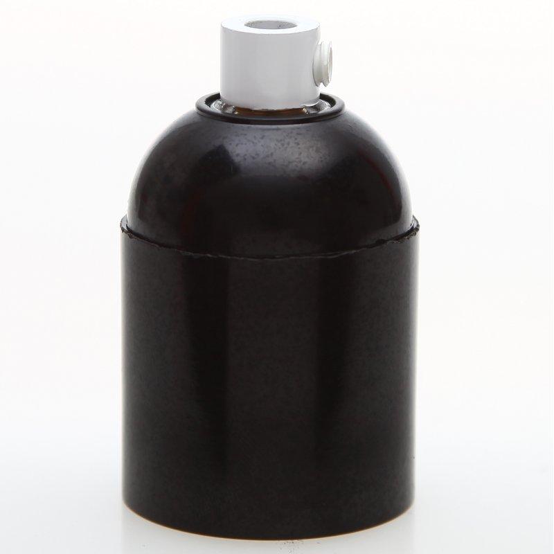e27 bakelit fassung schwarz glattmantel mit zugentlaster metall weiss. Black Bedroom Furniture Sets. Home Design Ideas
