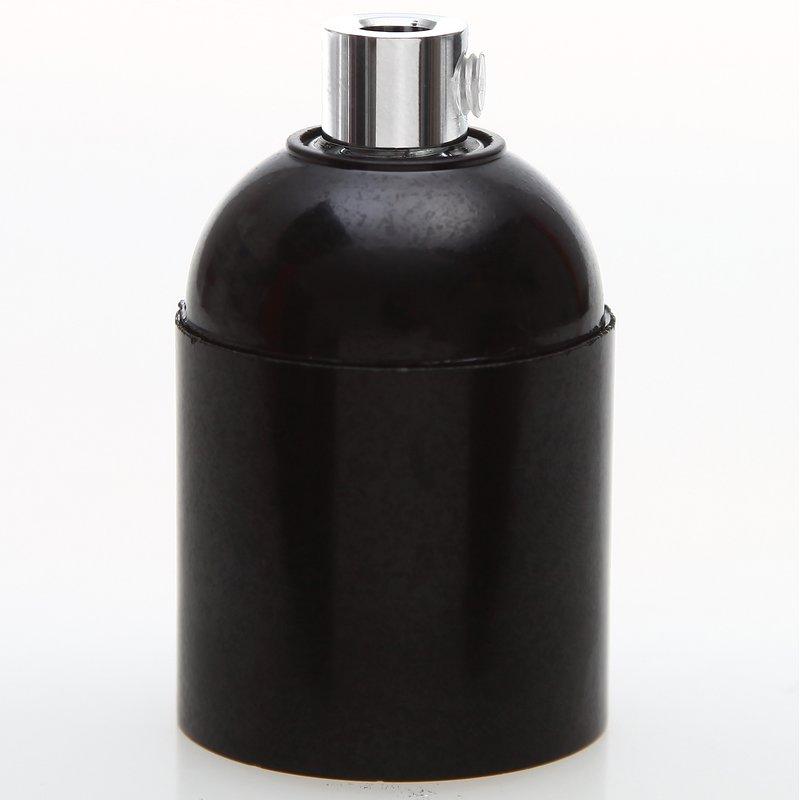 e27 bakelit fassung schwarz glattmantel mit zugentlaster metall chrom. Black Bedroom Furniture Sets. Home Design Ideas