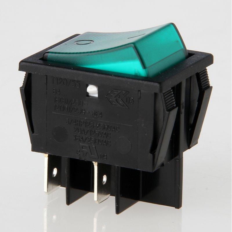 wippschalter gr n beleuchtet 2 polig 30x22 mm 250v 16a 5 95. Black Bedroom Furniture Sets. Home Design Ideas
