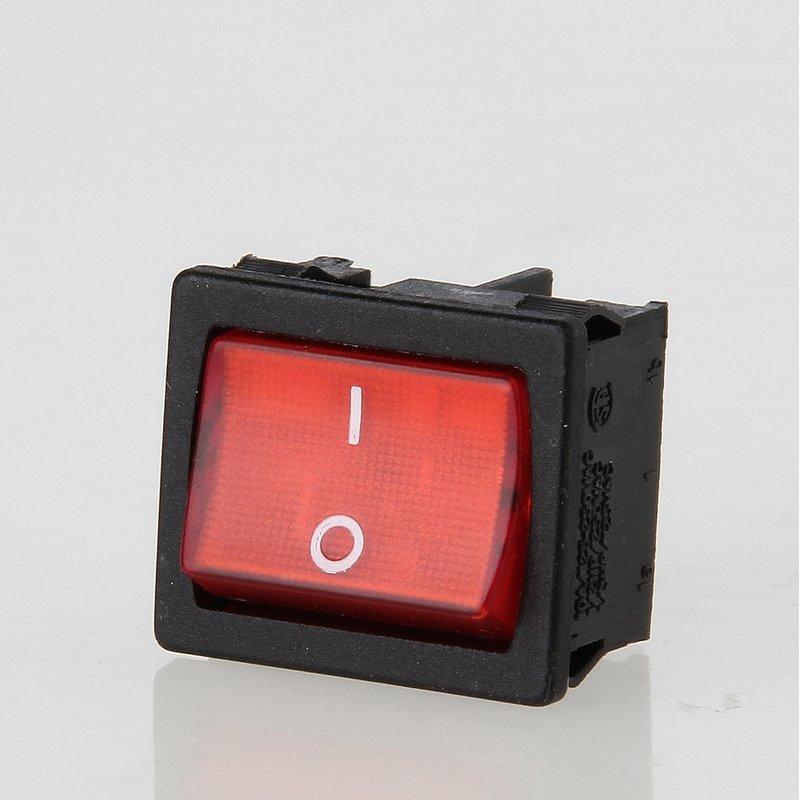 wippschalter rot beleuchtet 2 polig 19x22 mm 250v 10a 6 95. Black Bedroom Furniture Sets. Home Design Ideas